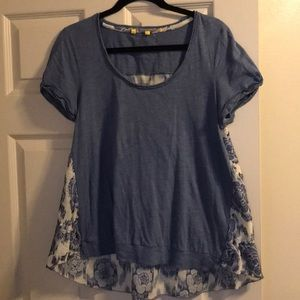 Anthropologie blue T-shirt with floral back